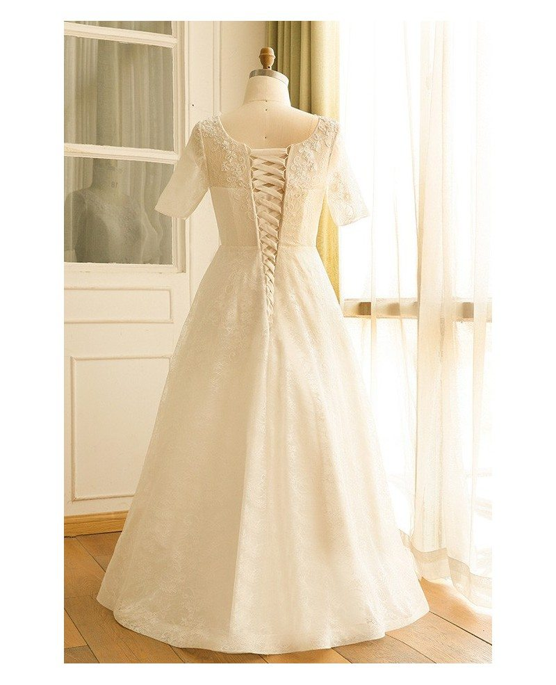 Modest plus size ivory lace mature women wedding dress for Lace wedding dresses plus size