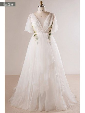 Plus Size Flowing Long Tulle Flowers Beach Wedding Dress For Outdoor Weddings