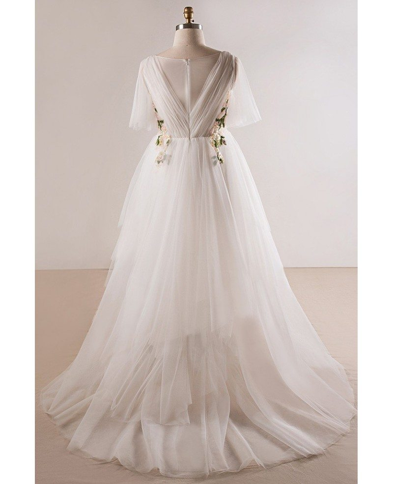 Plus size flowing long tulle flowers beach wedding dress for Floral beach wedding dresses