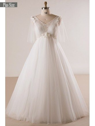 Plus Size Ivory Beaded Flowers Empire Waist Long Tulle Wedding Dress Butterfly Sleeves