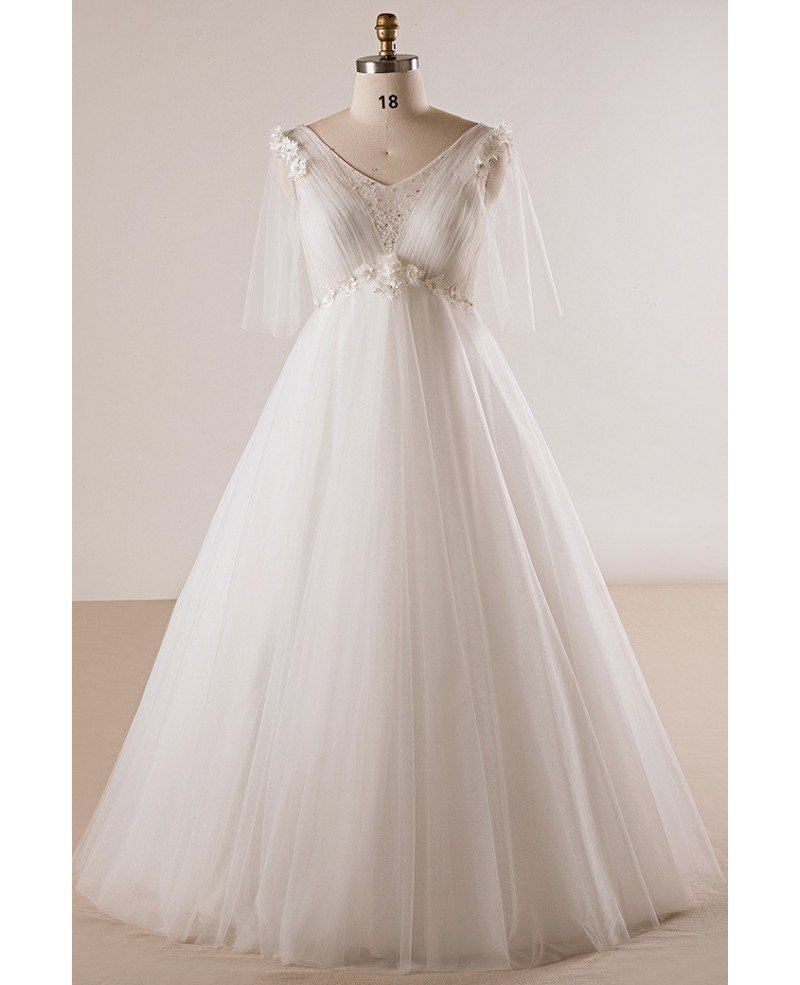 Plus Size Ivory Beaded Flowers Empire Waist Long Tulle Wedding Dress ...