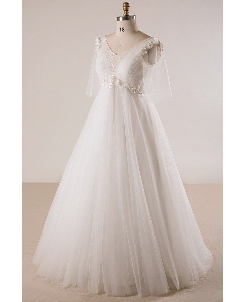 Plus size ivory beaded flowers empire waist long tulle for Tulle wedding dress with sleeves
