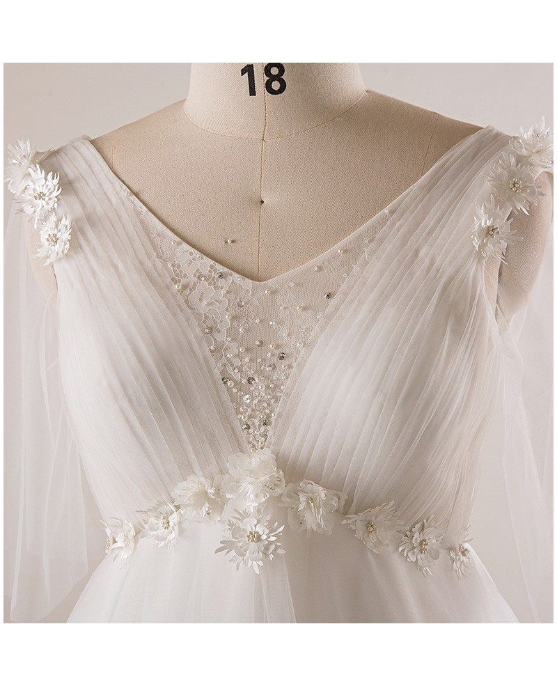 Plus size ivory beaded flowers empire waist long tulle for Empire waist plus size wedding dress