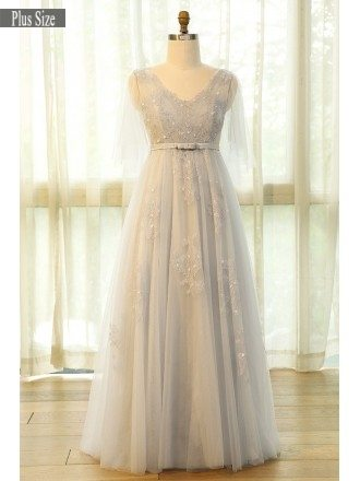 Beautiful Plus Size Grey Flowing Long Tulle Lace Formal Party Dress