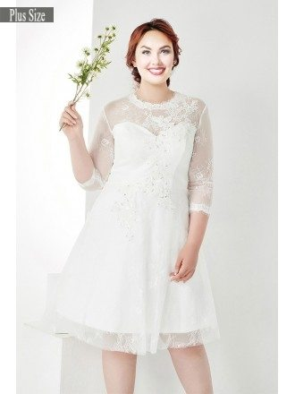 Modest Plus Size White Lace 3/4 Sleeves Short Wedding Dress