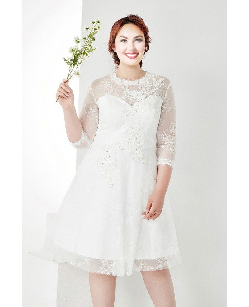 Modest Plus Size White Lace 3/4 Sleeves Short Wedding Dress #MN035 ...