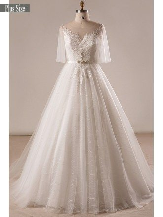 Gorgeous Plus Size Ivory Leaf Lace Wedding Dress With Flowing Sleeves