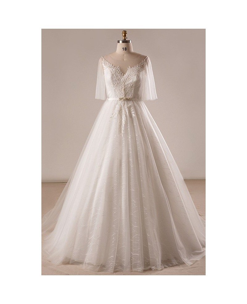 Gorgeous plus size ivory leaf lace wedding dress with for Plus size lace wedding dresses with sleeves