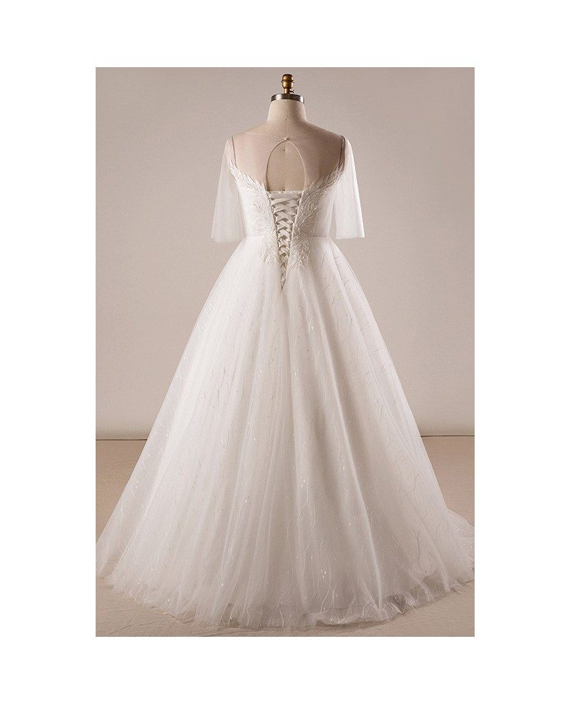 Gorgeous plus size ivory leaf lace wedding dress with for Ivory lace wedding dress with sleeves