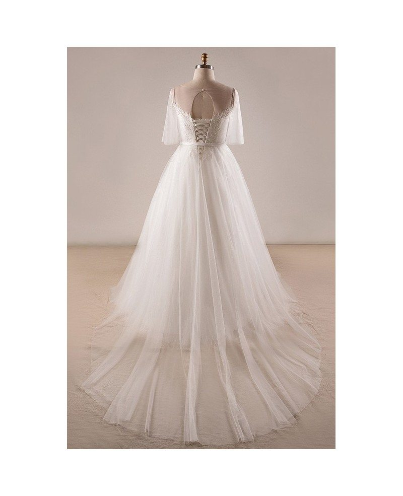 Gorgeous Plus Size Ivory Leaf Lace Wedding Dress With