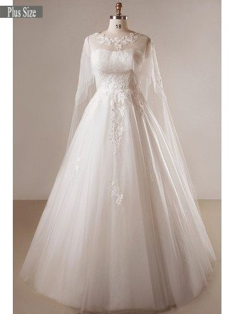 Plus Size Ivory A-line Lace Floor Length Strapless Wedding Dress With Shawl