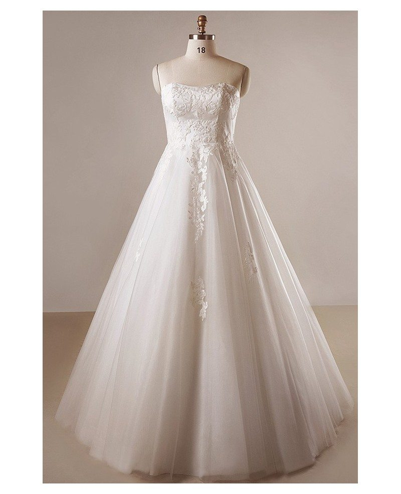 Plus size ivory a line lace floor length strapless wedding for Strapless lace wedding dress a line