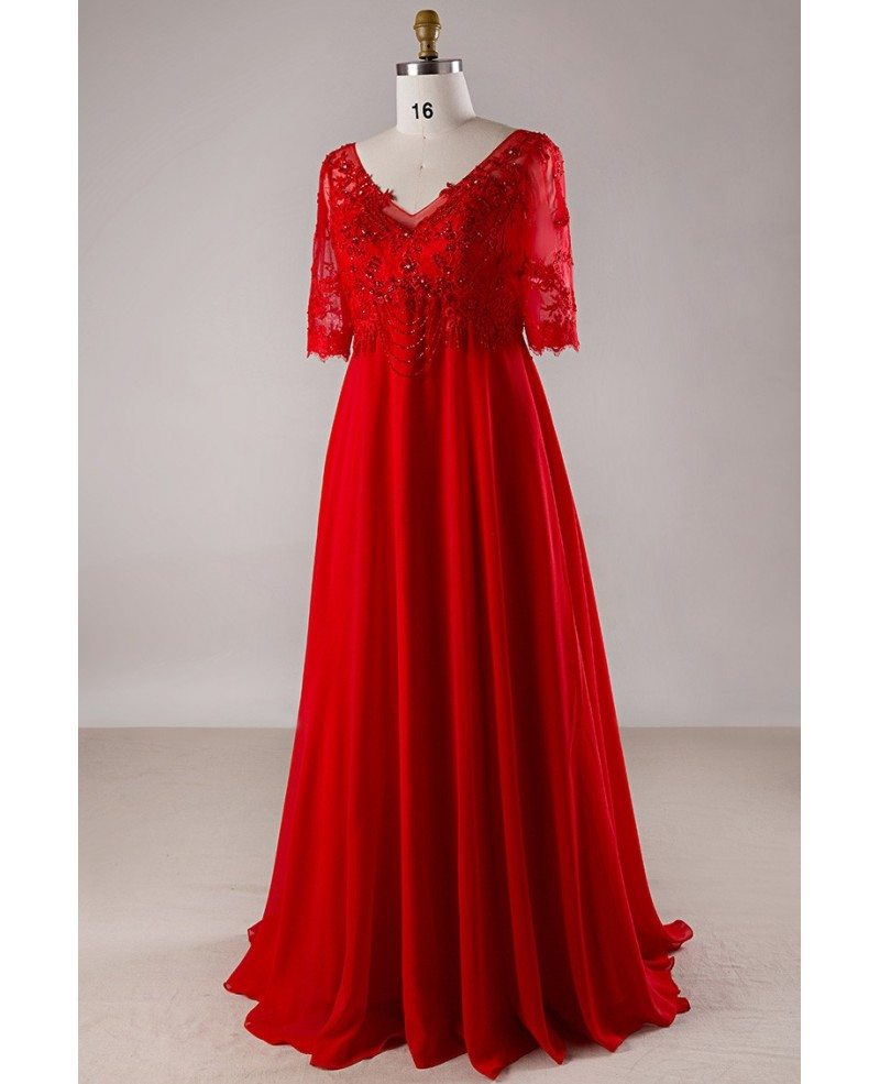 plus size red lace empire waist long chiffon formal dress