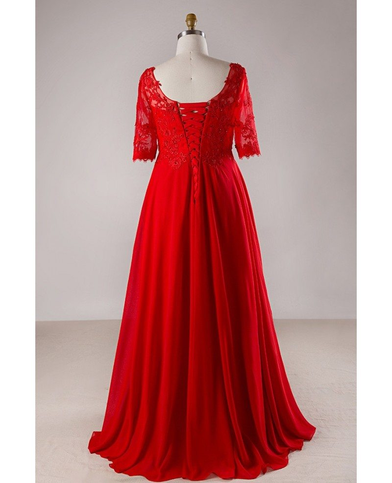 Plus Size Red Lace Empire Waist Long Chiffon Formal Dress With Lace ...
