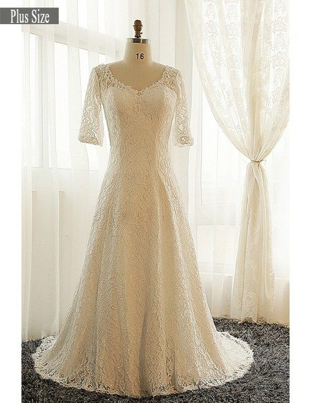 Plus size modest wedding dress