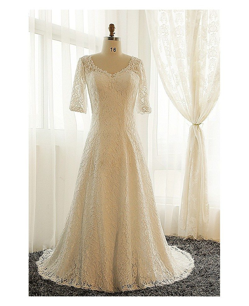 Best plus size lace wedding dress with sleeves ivory full for Plus size wedding dresses with color and sleeves