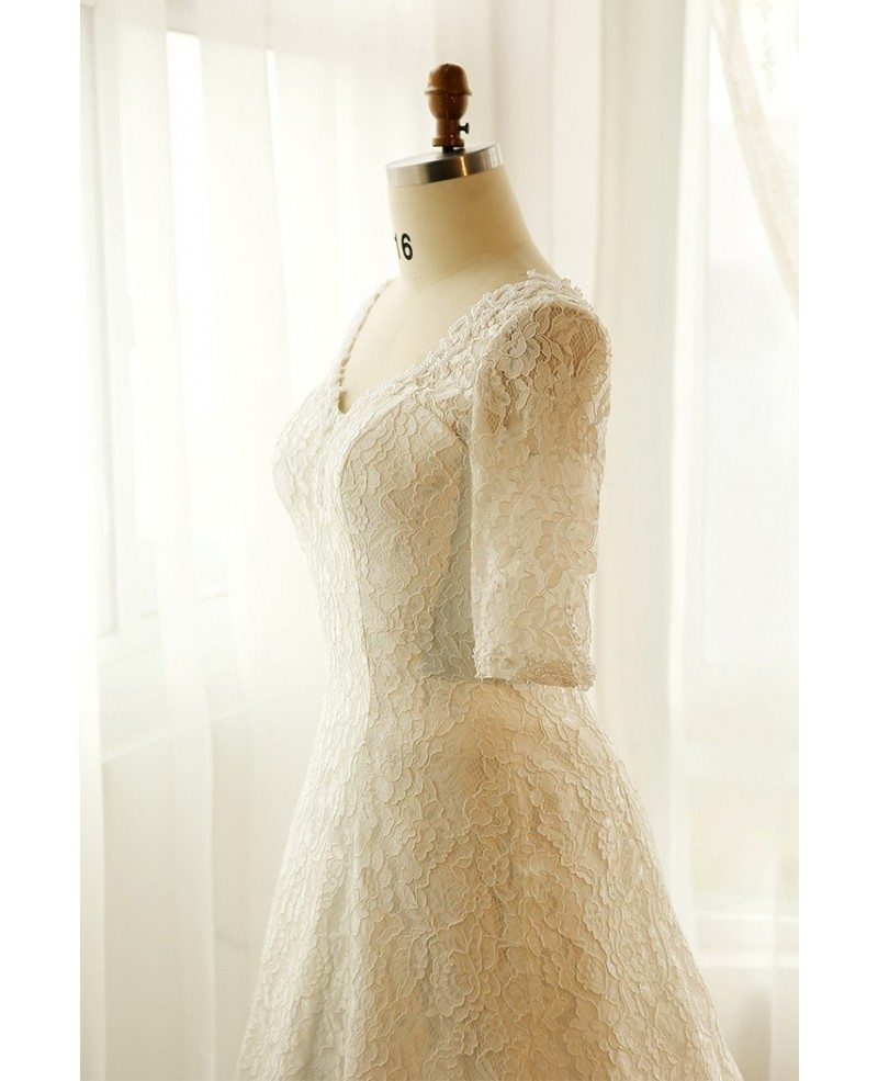 Best plus size lace wedding dress with sleeves ivory full for Ivory lace wedding dresses
