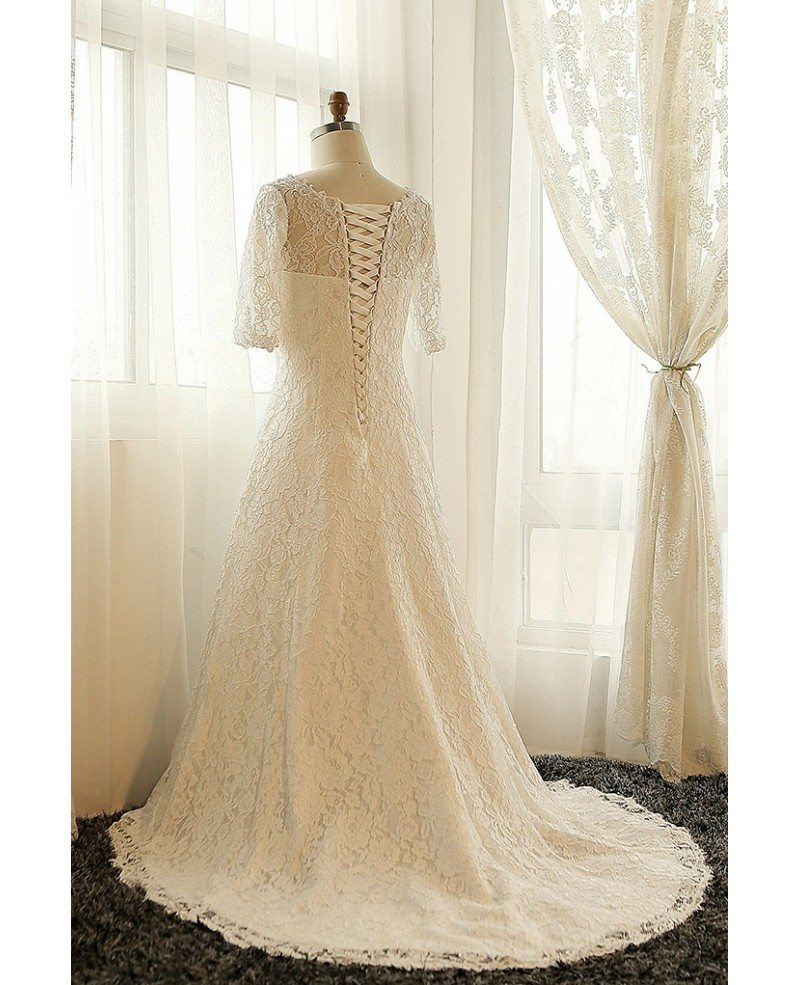 Best plus size lace wedding dress with sleeves ivory full for Ivory lace wedding dress with sleeves