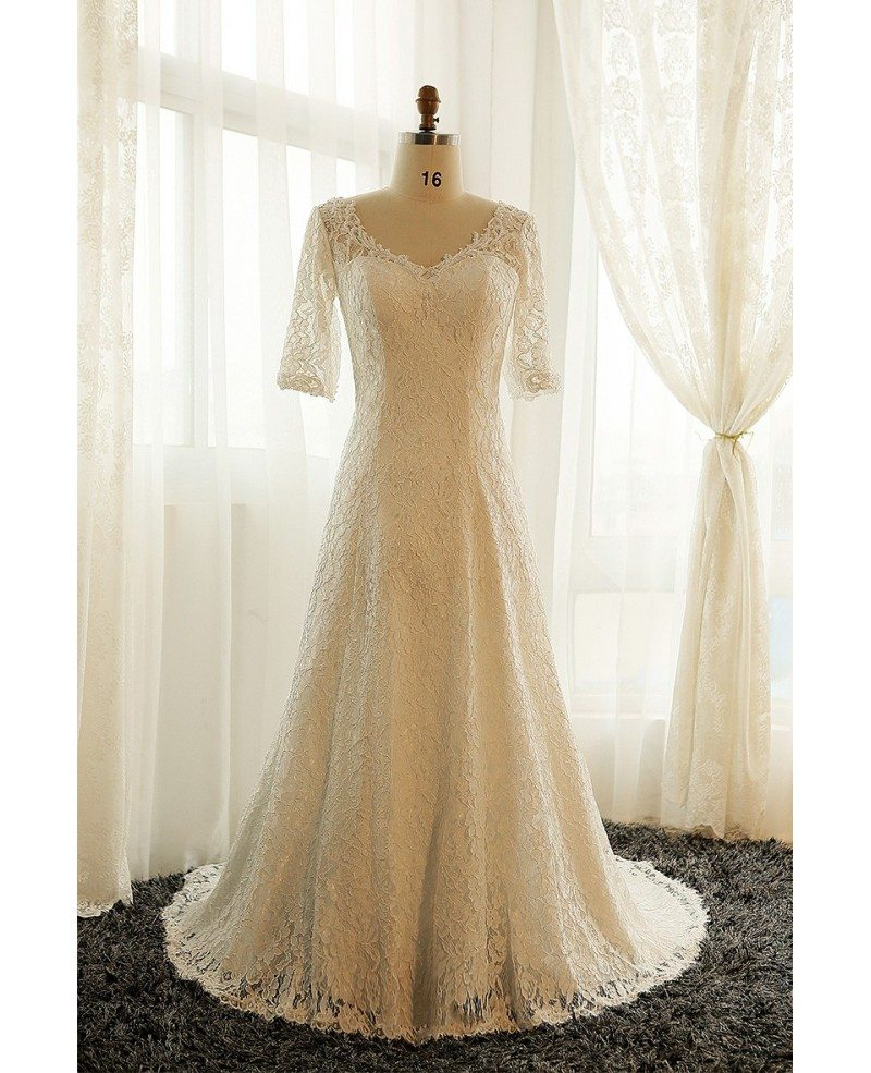 Best plus size lace wedding dress with sleeves ivory full for Modest wedding dresses under 500