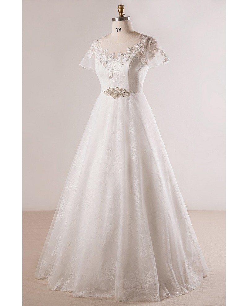 Plus size beaded lace a line wedding dress with short for Plus size wedding dresses with color and sleeves