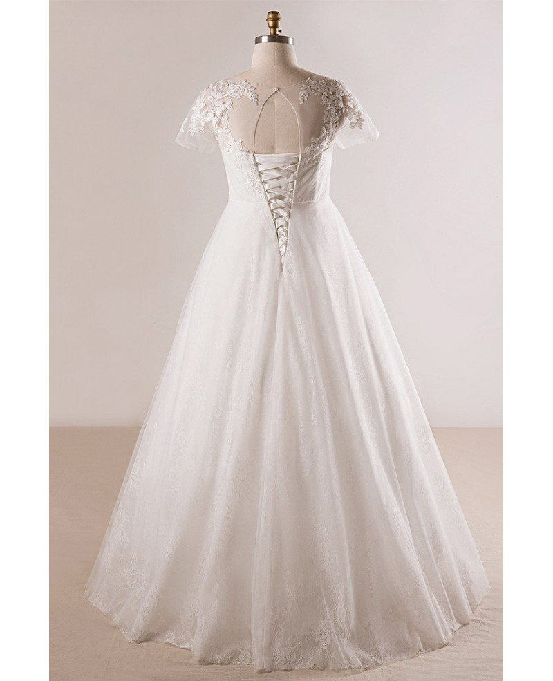Plus size beaded lace a line wedding dress with short for Short sleeved wedding dress