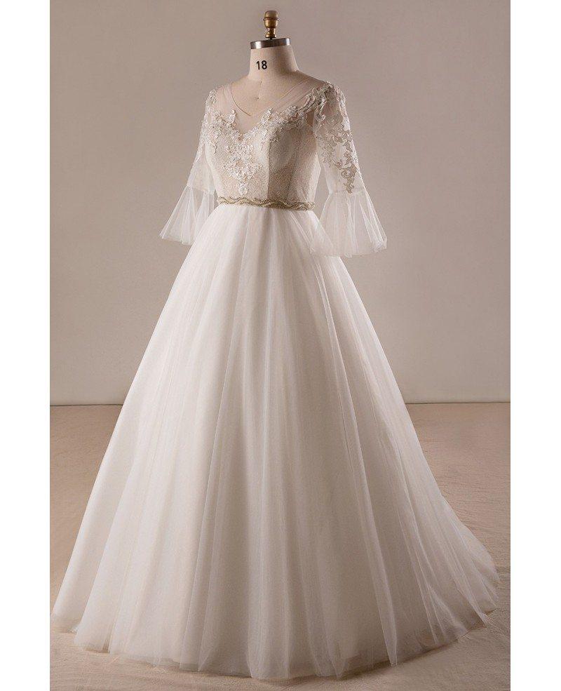 Retro plus size trumpet sleeve lace a line wedding dress for Retro wedding dresses plus size