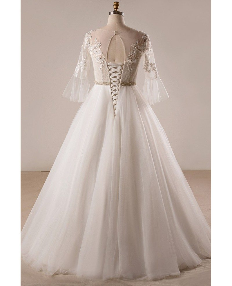 Retro plus size trumpet sleeve lace a line wedding dress for Plus size lace wedding dresses with sleeves