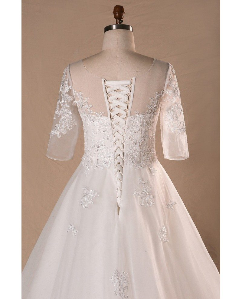 Plus size sheer round neck lace wedding dress with half for Sheer lace wedding dress