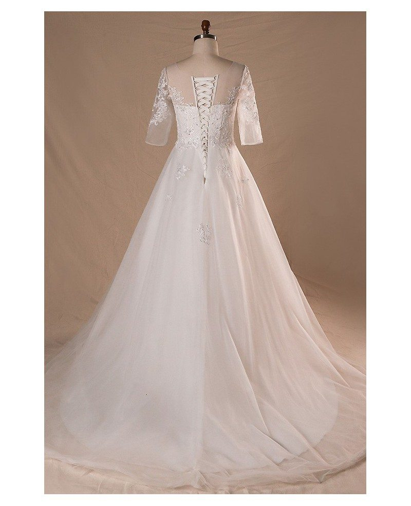 Plus size sheer round neck lace wedding dress with half for Plus size lace wedding dresses with sleeves