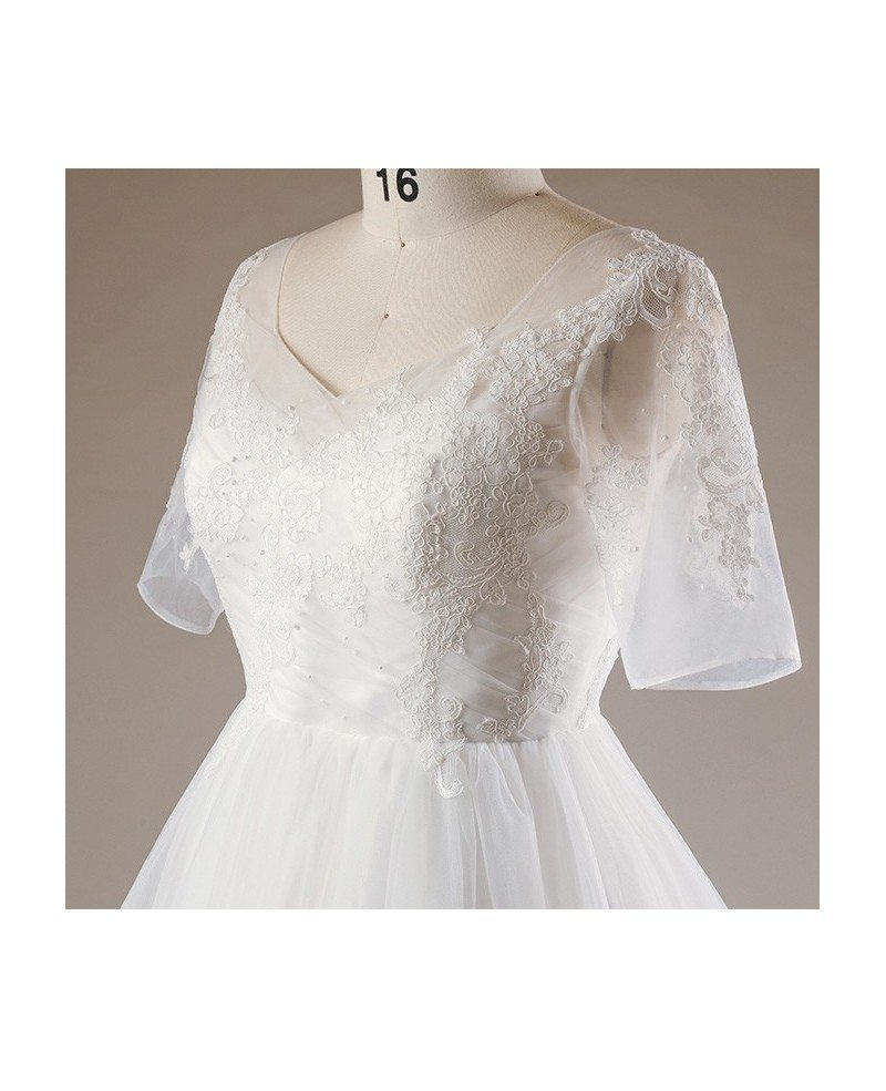 Plus Size Flowers Lace Long Tulle Beach Wedding Dress With ...