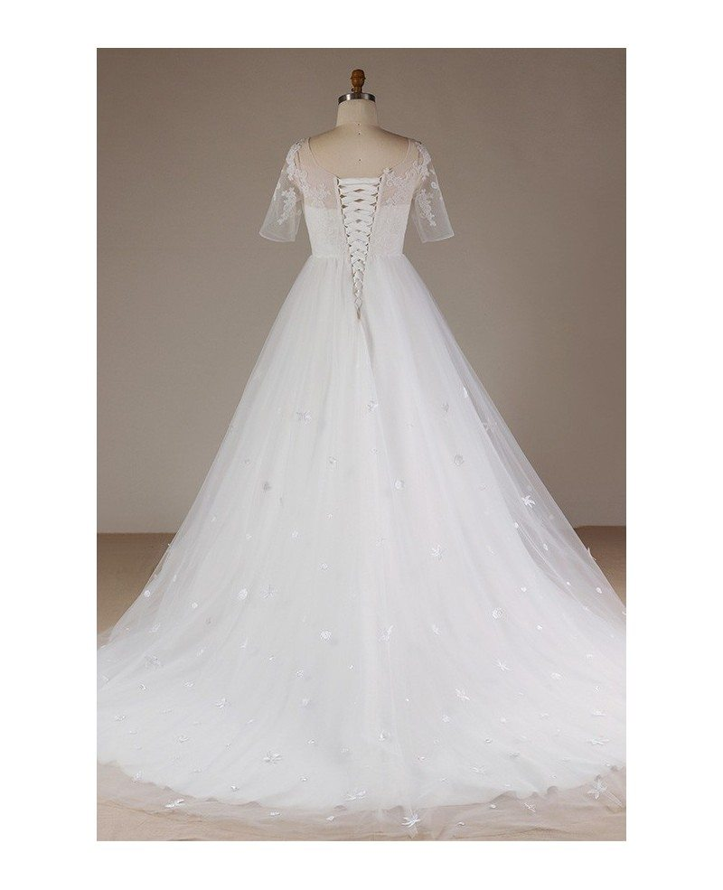 Plus size flowers lace long tulle beach wedding dress with for Floral beach wedding dresses