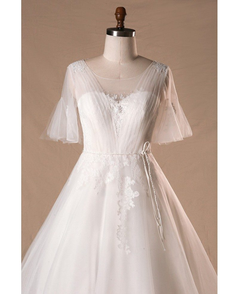 Plus size flowers lace country outdoor wedding dress with for Dresses for outdoor wedding