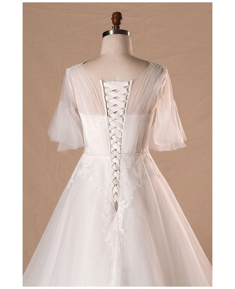 Plus size flowers lace country outdoor wedding dress with for Wedding dresses for outside
