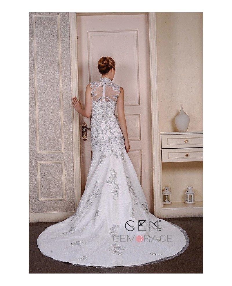 Mermaid high neck chapel train tulle wedding dress with for Wedding dresses chapel train