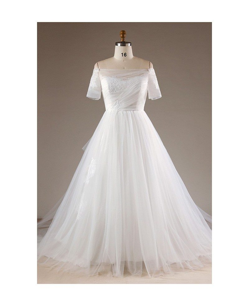 Simple Plus Size Off Shoulder Tulle Wedding Dress With Lace Back ...
