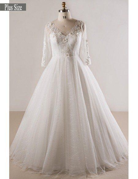 Plus Size Lace 3 4 Sleeves Floor Length Modest Wedding Dress