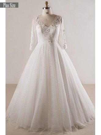 Plus Size Lace 3/4 Sleeves Floor Length Modest Wedding Dress