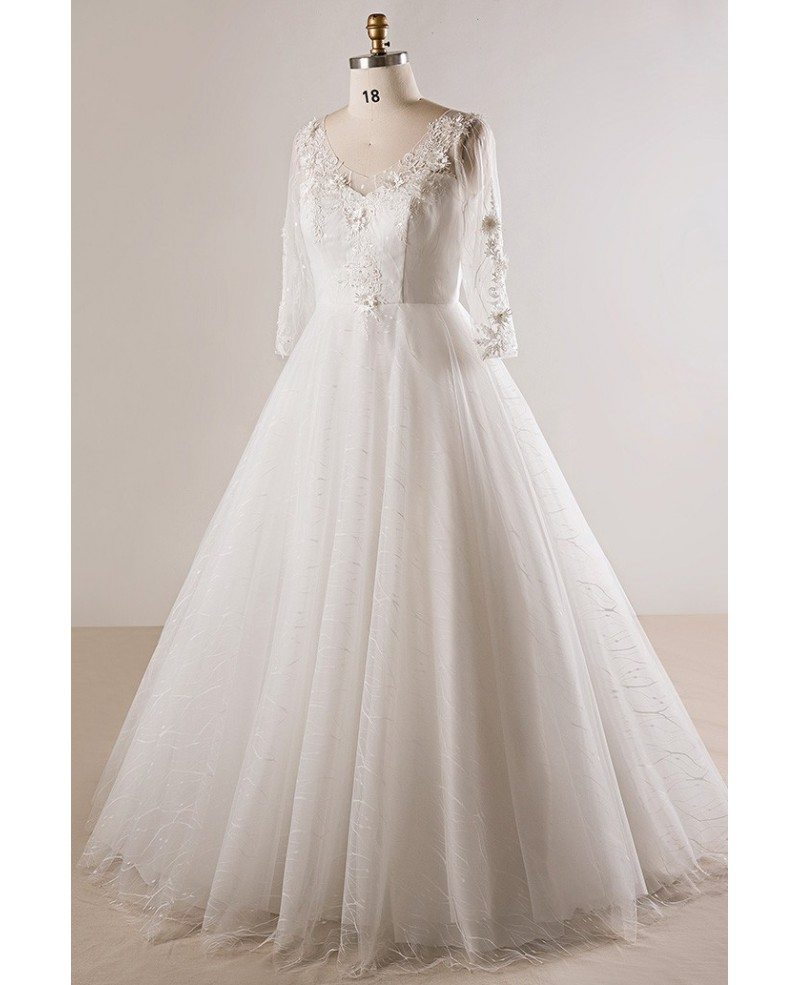 Plus size lace 3 4 sleeves floor length modest wedding for Floor length lace wedding dress