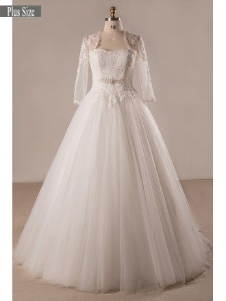 Plus Size Lace Tulle Ballgown Strapless Wedding Dress With Lace Jacket