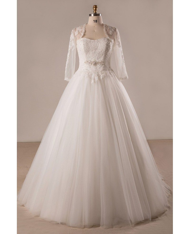 Plus size lace tulle ballgown strapless wedding dress with for Tulle and lace wedding dresses