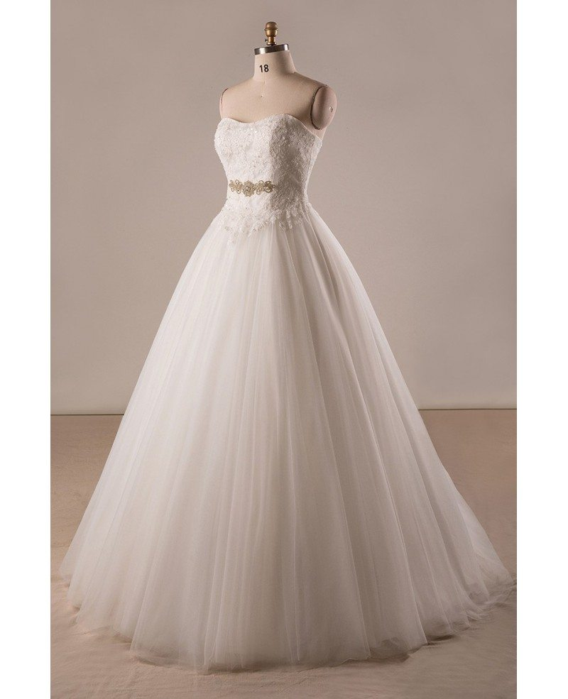 Plus Size Lace Tulle Ballgown Strapless Wedding Dress With Lace ...