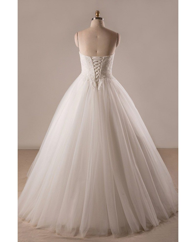 Plus size lace tulle ballgown strapless wedding dress with for Lace wedding dresses plus size