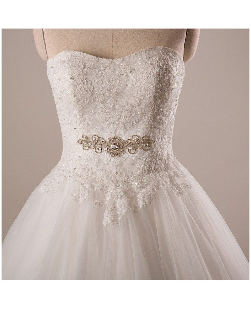 Plus size lace tulle ballgown strapless wedding dress with for Wedding dress jackets plus size