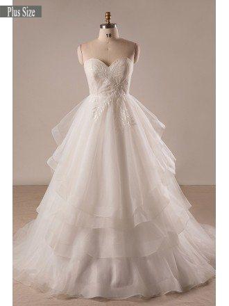 Custom Plus Size Ivory Sweetheart Layered Tulle Formal Wedding Dress