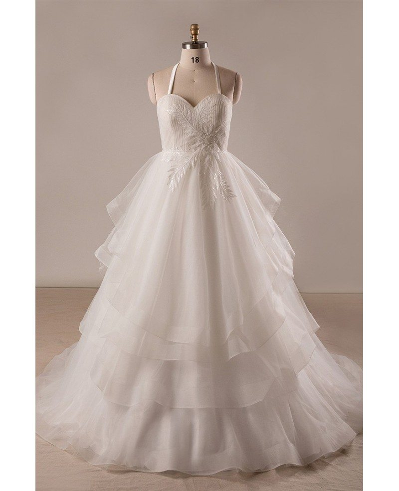 Custom plus size ivory sweetheart layered tulle formal for Tulle layered wedding dress
