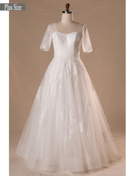Modest Plus Size A-line Lace Tulle Wedding Dress With Corset Lace ...