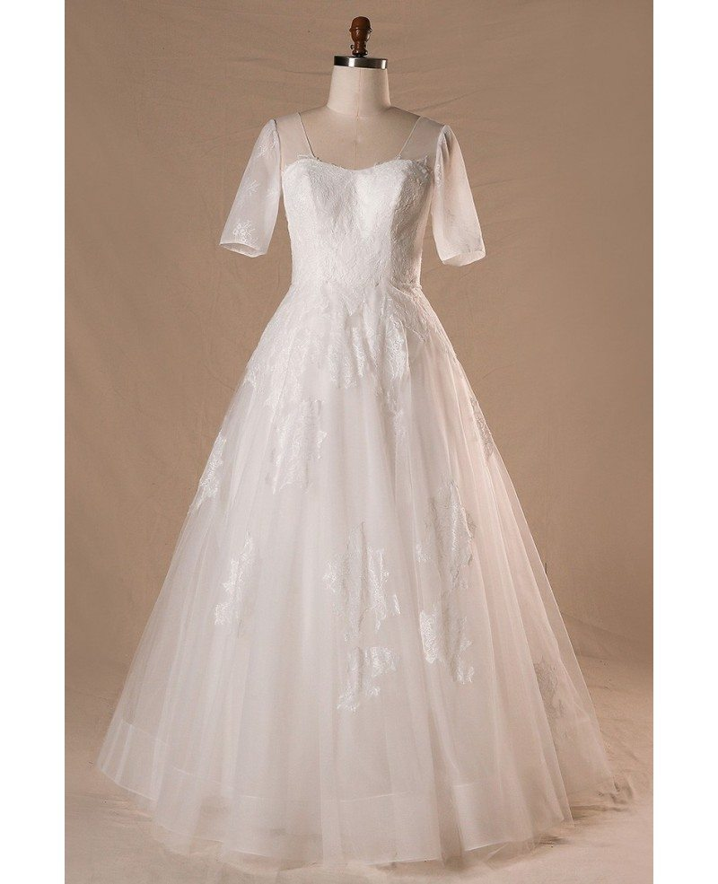 Modest plus size a line lace tulle wedding dress with for Wedding dresses for larger sizes