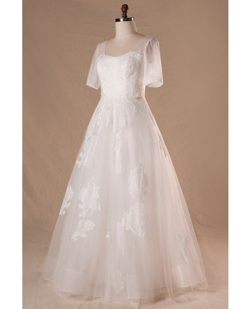 Modest plus size a line lace tulle wedding dress with for Tulle a line wedding dress