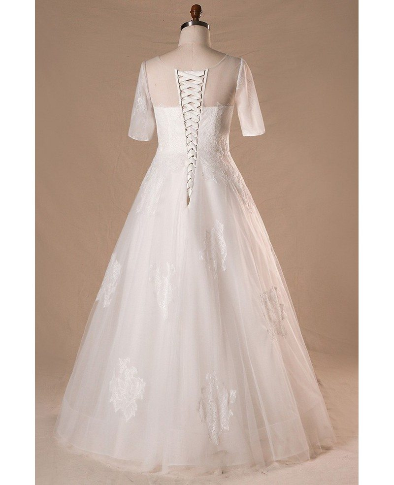 Modest plus size a line lace tulle wedding dress with for Lace wedding dresses plus size