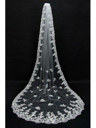 3 metres Long Train lace tulle Bridal veil